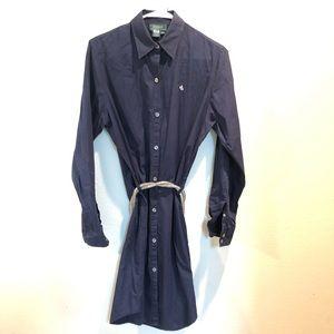 Ralph Lauren Navy button down shirt dress Sz Med